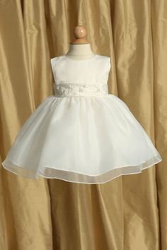 Flower Girl Dress Style 6036-Simple Organza Dress With Hand Beaded Satin Belt in Choice of Color