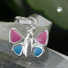 Hängsmycke Fjäril rosa-blå Äkta Silver