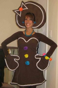 Gingerbread Girl Costume...  I have to figure out a costume for the youth group Christmas party this sunday... I think it's gonna be something like this!