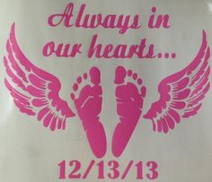 Personalized baby feet Angel wing car decal https://www.etsy.com/listing/183844645/angel-footprints-baby-loss-decal-angel?ref=shop_home_active_1