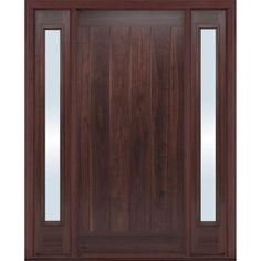 Masonite AvantGuard Flagstaff Finished Smooth Fiberglass Entry Door with No Brickmold and Sidelites-10355 at The Home Depot