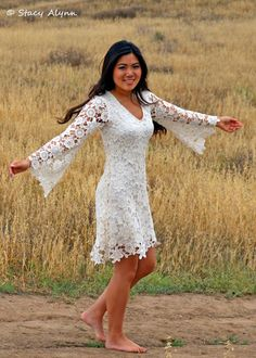 Size XXL Bohemian Beach Wedding, V Neck Short Mini Wedding Dress, Cotton Crochet Wedding Dress, Boho Hippie Wedding,Dressmesewchic