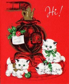 vintage kitten Christmas card