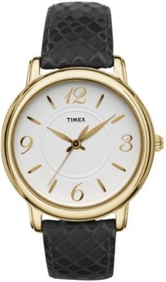 Timex Womens Classsics White Dial Gold Tone Stainless Steel Case Black Leather Watch T2N619 -- Read more by visiting the link on the image.