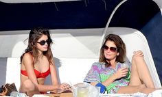 Mother daughter duo Cindy Crawford and Kaia Gerber soak up the sun in Miami flaunting fabulous shades, of course!