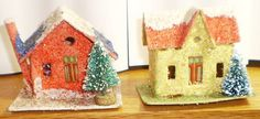 **2** VINTAGE CHRISTMAS PUTZ STYLE HOUSES w/ BOTTLE BRUSH TREES = # 20 in Collectibles | eBay