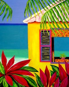 Aspirations of a Southern Housewife: An ABC Getaway Haitian Art, Caribbean Art, Tropical Art, Colorful Paintings, Beach Art, African Art, Painting Inspiration, Art Lessons, Watercolor Art