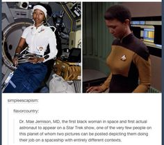 Mae Jemison, MD, the first black woman in space and the first actual astronaut to appear on a Star Trek show. Cultura General, All Meme, Def Not, Badass Women, Real Women, To Infinity And Beyond, Thats The Way, Women In History, Black History