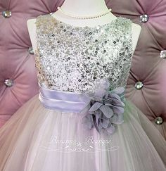 Flower Girl Dress Silver Sequin Dress Special by BURATINOBOUTIQUE