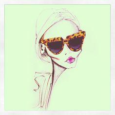 Monday morning shades @prada #fashionillustration #prada #sunglasses #tortoise #shades #blonde #ad #model #art #sketch #artist #jamieleereardin #thedailyscribble