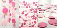 6m Pink Circles Paper Garland by TheRainbowPaperie
