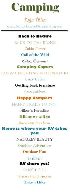 Scrapbook Page Title Ideas - Camping Album Scrapbook, Scrapbook Quotes, Vacation Scrapbook, Scrapbook Journal, Scrapbook Sketches, Scrapbook Page Layouts, Kids Scrapbook, Creative Memories, Tittle Ideas