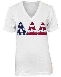 Delta Delta Delta American Letters V-neck by Adam Block Design | Custom Greek Apparel & Sorority Clothes | www.adamblockdesign.com | orders@adamblockdesign.com
