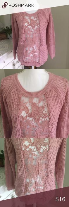 """Poof! Pink Knit Crochet Sweater This darling pink sweater from Poof! features longs sleeves and a delicate front floral design. Size: Small. Chest: 18"""" (up to 19.5""""). Length: 25.5"""". #0101 Poof! Sweaters"""
