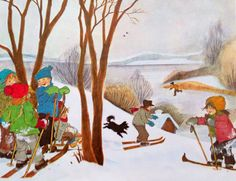 Ilon Wikland: Die Kinder von Bullerbü von Astrid Lindgren. I Love Snow, I Love Winter, Winter Time, Winter Holidays, Winter Illustration, Children's Book Illustration, Hunters In The Snow, Pieter Bruegel The Elder, Elsa Beskow