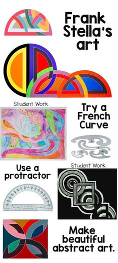 Frank Stella abstract art lesson for kids - integrated math and art lesson.  Use math tools to make art.