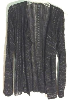 DIKTONS BARCELONA Open Front Draped Black-Silver Cardigan Sweater - Large / 12 #DiktonsBarcelona #Cardigan #diktons #barcelona #sweater #large #12
