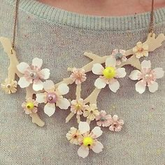 Boucle pastel knit and our Blossom Branch Necklace in white. Get the look now: http://www.tattydevine.com/acid-blossom-branch-necklace-white.html