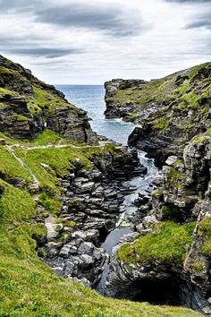 """The rocky Rocky Valley near Tintagel """