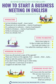 How to start a business meeting in English. Useful business English phrases for introductions, presenting, starting a speech, asking for information, . How to start a business meeting in English. English Learning Spoken, Learn English Grammar, English Writing Skills, English Vocabulary Words, Learn English Words, English Phrases, English Language Learning, English Study, English Lessons