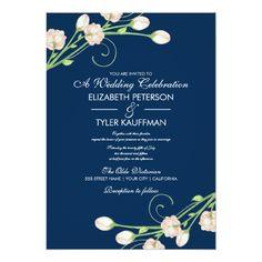 Vintage Wedding Invitation Vintage Garden Roses On Blue - Wedding Invitations