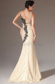 eDressit 2014 New Champagne V-Neck Embroidered Lace Mermaid Evening Gown (02141514)