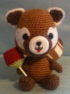 This very cheerful red panda was inspired by a bubbly, brilliant young girl who asked me to design a red panda for her brother who loves red
