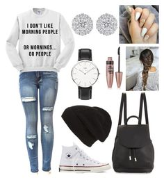 """#10"" by jasmeen-brar on Polyvore featuring Converse, rag & bone, Phase 3, Maybelline and Daniel Wellington"