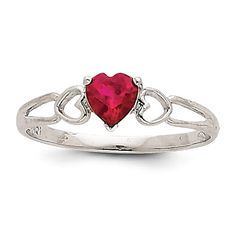 - Metal Material: 14k White Gold (solid) Average Weight:1.2gm Width of Item:2 to 5 mm (tapered) Plating:Rhodium Stone Type: Ruby Stone Creation Method:Natural Stone Treatment:Heating Stone Shape:Heart