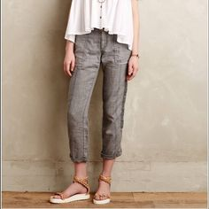 """NWT Anthro Sz 26 Cuffed Pants Embroidered Linen • Hei Hei from Anthropologie • Cuffed, embroidered, lived in pants  • Size 26 • Linen  • New with tags! Originally $118! • Color: Lived in gray • Waist - 14"""" across the front, lying flat.                                 • Inseam - 27"""" cuffed.    Suggested User // 700+ Sales // Fast Shipper // Best in Gifts Party Host!  Anthropologie Pants"""