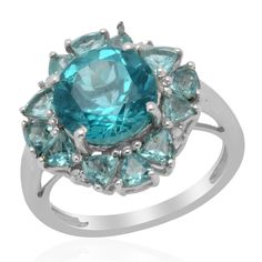 Liquidation Channel | Paraiba Apatite and Diamond Ring in Platinum Overlay Sterling Silver (Nickel Free)