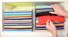 Organized-Closet; EZStack folded stacked clothing organizer and shirt folding template