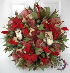 Deco Mesh Burlap CHRISTMAS Owl Wreath for Outside Door or Wall Ribbon Wreath by www.southerncharmwreaths.com #burlap #owl #decomesh #ribbon #wreath