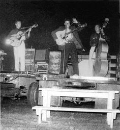 Elvis Presley, Conroe, TX 1955 ... performing on a flat bed truck