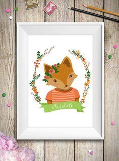 Questà è una stampa personalizzabile con il nome della tua bambina perfetta per decorare la sua camera con una dolce volpe tra i fiori. Basta