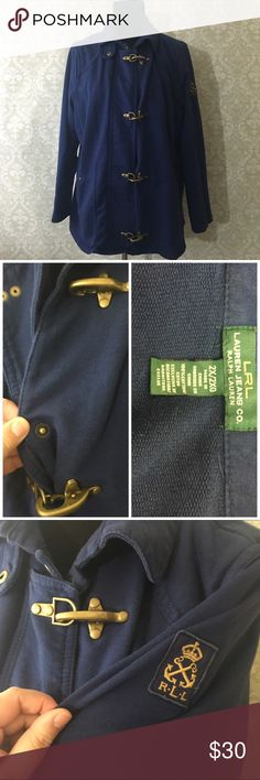 """RL cotton jacket Super comfy cotton jacket has gorgeous clasps going down the front with buttons underneath light wear no stains or tears- offers welcome, bundle 2 or more items in my closet using the """"bundle"""" feature and receive 15% off of your total purchase! Lauren Ralph Lauren Jackets & Coats"""