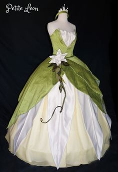 Princess Tiana Costume Green Ballgown Dress Custom Made Costume With Leaf Crown Princess and the Frog Cosplay
