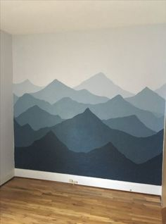 Painted a mountain mural in our nursery! Used sherwin Williams Rock Candy and Se.- Painted a mountain mural in our nursery! Used sherwin Williams Rock Candy and Se… Painted a mountain mural in our nursery! Creative Wall Painting, Room Wall Painting, Mural Wall Art, Creative Walls, Diy Wall Art, Painting Art, Painted Wall Murals, Wall Paintings, Painting Designs On Walls