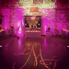 Beautiful lighting and design elements including this projected monogram // Robert Norman Photography // très chic events llc