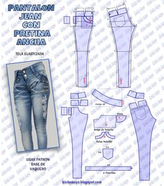 Show off your edgy casual style in these high rise skinny jeans Fashion that reflects your identity. Sewing Pants, Sewing Clothes, Diy Clothes, Dress Sewing Patterns, Clothing Patterns, Patterned Jeans, Jacket Pattern, Fashion Books, Distressed Denim
