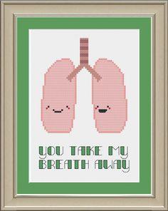You take my breath away: cute lung anatomy cross-stitch pattern