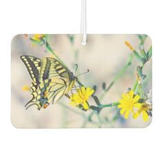 #beauty - #Yellow Flowers and Beautiful Butterfly Car Air Freshener