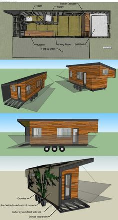 196 sq ft (+36sf loft) tiny house built using many reclaimed/recycled materials... pallet wood for siding, elastomeric roof http://elastomericroofcoating.net/ with possible expanded aluminum https://google.com/search?q=expanded+aluminum+images trellis for growies... on 8' x 24' flatbed trailer (cheaper to license at dmv than pay for building permits/codes)... self-designed (architecture intern, but not a builder), built with dad and boyfriend... running budget here…