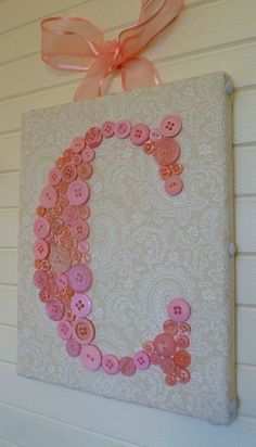 Baby Monogram Button Letter -- Vintage   Style Wall Art for Baby Girl Nursery -- Pink Buttons on Ivory Paisley   Canvas