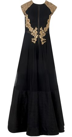 Black zipper anarkali jacket by RIDHI MEHRA. Shop at…