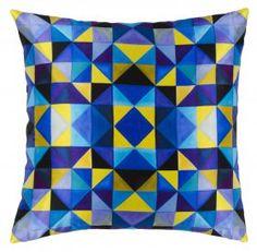 Coussin Bold Cubism French Blue 50 x 50 cm par Mariska Meijers Amsterdam #cubism