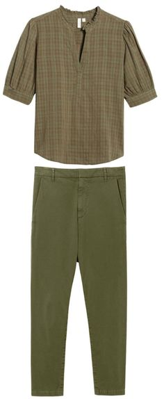 This fabulous Alex Mill ensemble ( jacket, vest and pants), plus my long-time love of monochromatic outfits (truly such an easy way to feel chic. Grey Chinos, Khaki Pants, Bright Heels, Castaner Espadrilles, White Flip Flops, Shirt Tucked In, Perfect Together, Green Tee, Soft Pants