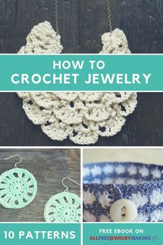 "We've collected some of our favorite free crochet jewelry patterns in this ""How to Crochet Jewelry 10 Free Crochet Patterns"" free eBook to inspire you to create your own beautiful crocheted accessories. Crochet Books, Thread Crochet, Crochet Gifts, Crochet Art, Knit Or Crochet, Free Crochet, Crochet Flowers, Kids Crochet, Crochet Earrings Pattern"