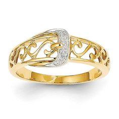 14k Rhodium Diamond Buckle Ring Y11679AA