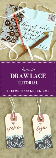 This detailed tutorial is guaranteed to teach you how to draw lace! As long as you've got a pen handy (and just a bit of patience), you can do it. Basic Sketching, Lace Drawing, Figure Drawing, Mail Art Envelopes, Postman's Knock, Lace Painting, Envelope Art, Doodle Lettering, Learn Calligraphy